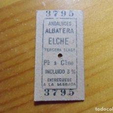 Coleccionismo Billetes de transporte: TICKET,BILLETES TRENES ANDALUCES,ALBATERA-ELCHE,CARTON 28/12/1963.. Lote 276906463