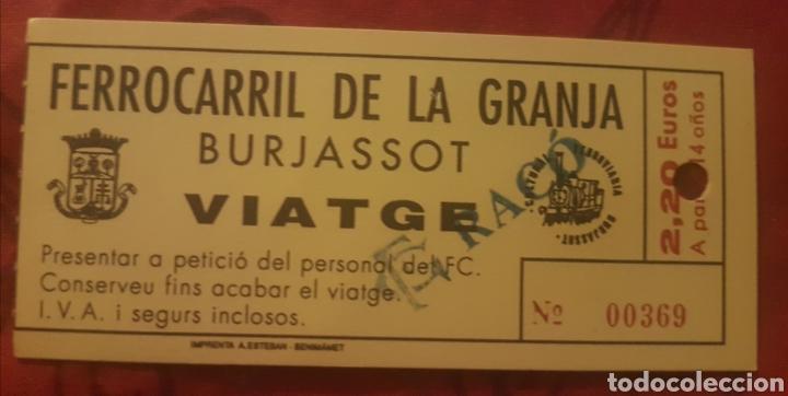 BILLETE FERROCARRIL 5 PULGADAS BURJASOT (Coleccionismo - Billetes de Transporte)