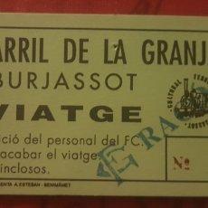 Coleccionismo Billetes de transporte: BILLETE FERROCARRIL DE 5 PULGADAS DE BURJASOT. Lote 277090373
