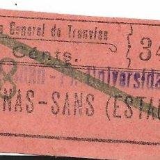Coleccionismo Billetes de transporte: COMPAÑIA GENERAL DE TRANVIAS ARENAS-SANS 10 CTS 34143. Lote 277663693