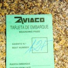 Coleccionismo Billetes de transporte: AVIACO - TARJETA DE EMBARQUE - 1986 APROX. - CON PUBLICIDAD. Lote 279437948