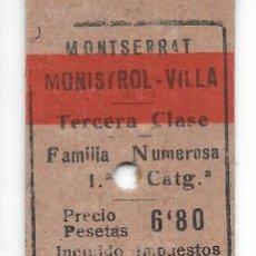 Collectionnisme Billets de transport: BILLETE EDMONDSON DEL CREMALLERA DE MONTSERRAT DE MONTSERRAT A MONISTROL VILLA ESP.F. NUMEROSAS. Lote 285980158