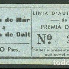 Collectionnisme Billets de transport: BILLETE DE LINIA DAUTOMNIBUS DE PREMIA DE MAR A PREMIA DE DALT // S23. Lote 286942813