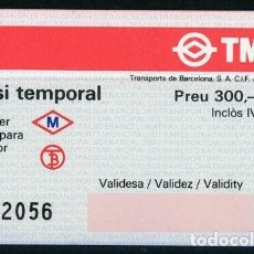 Collectionnisme Billets de transport: (F35/11) PASSI TEMPORAL DE TMB Y METRO // 300 PTAS // BARCELONA // S9. Lote 286943828
