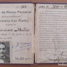Coleccionismo Billetes de transporte: BILLETE ABONO PERSONAL TRANVIAS BARCELONA S.A.SAN MARTIN AÑO 1916 CON FOTO. Lote 287486593