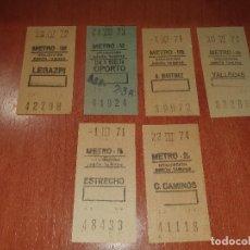 Coleccionismo Billetes de transporte: BILLETES DE METRO DE MADRID, , LEGAZPI, OPORTO, A. MARTINEZ, VALLECAS, ESTRECHO, C. CAMINOS. Lote 287582638