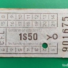 Coleccionismo Billetes de transporte: BILLETE ANTIGUO C.F.L. - 1$50- BILHETE. Lote 287843563