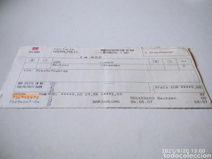 BILLETE DE TREN ALEMÁN BAUTZEN-DRESDEN (Coleccionismo - Billetes de Transporte)