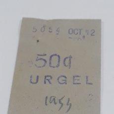 Coleccionismo Billetes de transporte: METRO URGEL BILLETE AÑO 1953. Lote 288533383