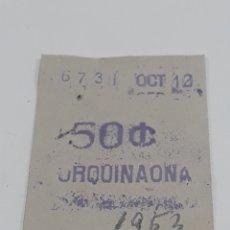 Coleccionismo Billetes de transporte: METRO URQUINAONA BILLETE AÑO 1953. Lote 288533958