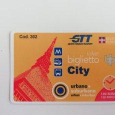 Coleccionismo Billetes de transporte: BILLETE URBANO SUBURBANO GGT TURÍN - METRO TRANVÍA AUTOBÚS - PIAMONTE ITALIA - MOLE ANTONELLIANA. Lote 288536108