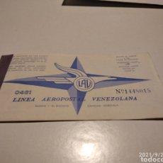 Coleccionismo Billetes de transporte: PASAJE AVIÓN LÍNEA AEROPOSTAL VENEZOLANA 1968. Lote 288557468