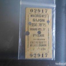 Coleccionismo Billetes de transporte: BILLETE DE TREN DE 1932 MADRID ,GIJON. Lote 288966468