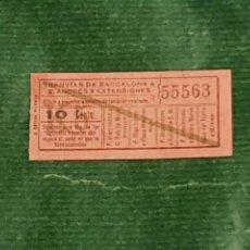 Coleccionismo Billetes de transporte: BILLETE COMPAÑIA DE TRANVIAS DE BARCELONA A SAN ANDRES Y EXTENSIONES K5. Lote 289746678