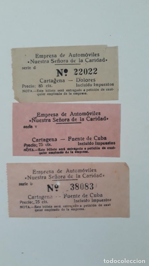 3 BILLETES DE TRANSPORTE. EMPRESA DE AUTOMÓVILES NUESTRA SEÑORA DE LA CARIDAD. CARTAGENA, AÑOS 50/60 (Coleccionismo - Billetes de Transporte)