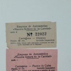 Coleccionismo Billetes de transporte: 3 BILLETES DE TRANSPORTE. EMPRESA DE AUTOMÓVILES NUESTRA SEÑORA DE LA CARIDAD. CARTAGENA, AÑOS 50/60. Lote 289764888