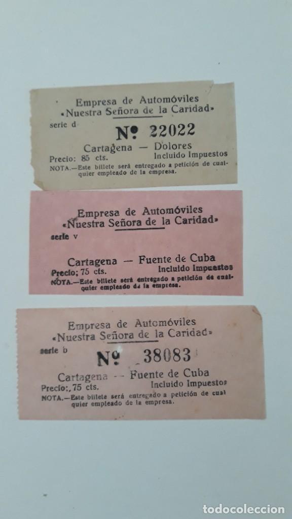 Coleccionismo Billetes de transporte: 3 BILLETES DE TRANSPORTE. Empresa de automóviles Nuestra Señora de la Caridad. Cartagena, Años 50/60 - Foto 2 - 289764888