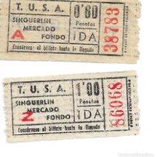 Coleccionismo Billetes de transporte: DOS BILLETES AUTOBUSES TUSA DE SANTA COLOMA DE GRAMANET VER RECORRIDO E IMPORTE. Lote 290104733