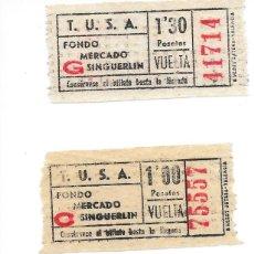 Coleccionismo Billetes de transporte: TRES BILLETES AUTOBUSES TUSA DE SANTA COLOMA DE GRAMANET VER RECORRIDO E IMPORTE. Lote 290104948