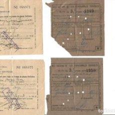 Colecionismos Bilhetes de Transporte: 4 BILLETES RED NACIONAL DE FERROCARRILES 1946. DOS. VIGO - LUGO. DOS ZARAGOZA. 3ª CLASE. Lote 291914388