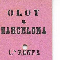 Colecionismos Bilhetes de Transporte: BILLETE EDMONDSON DEL CARRILET DE OLOT A GERONA COMBINADO CON RENFE CON DESTINOS A BARCELONA. Lote 293252053
