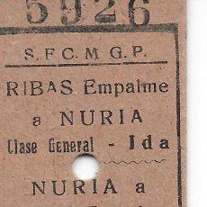 Colecionismos Bilhetes de Transporte: BILLETE EDMONDSON DEL CREMALLERA DE NURIA DE RIBAS EMPALME A NURIA IDA Y VUELTA. Lote 293254618