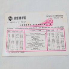 Colecionismos Bilhetes de Transporte: HORARIO DE TRENES CERCANÍAS HUELVA 1980. Lote 293263618