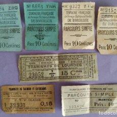 Colecionismos Bilhetes de Transporte: ANTIGUO LOTE 7 BILLETES DE TRANSPORTE FRANCIA. Lote 293288953