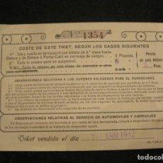 Coleccionismo Billetes de transporte: BILLETE TIKET FERROCARRIL-BETERA PORTA COELI-AÑO 1912-VER FOTOS-(84.945). Lote 293651008