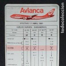 Coleccionismo Billetes de transporte: AVIANCA-V37-B-VUELOS EUROPA-SUDAMERICA 1981. Lote 293881853