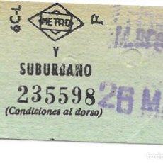 Colecionismos Bilhetes de Transporte: BILLETE METRO Y SUBURBANO DE MADRID. Lote 295709668