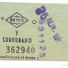Colecionismos Bilhetes de Transporte: BILLETE METRO Y SUBURBANO DE MADRID. Lote 295709748