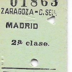 Coleccionismo Billetes de transporte: BILLETE FERROCARRIL EDMONDSON DE ZARAGOZA A MADRID 2ª CLASE. Lote 295822913