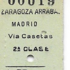 Coleccionismo Billetes de transporte: BILLETE FERROCARRIL EDMONDSON DE ZARAGOZA ARRABAL A MADRID VIA CASETAS 2ª CLASE. Lote 295823008