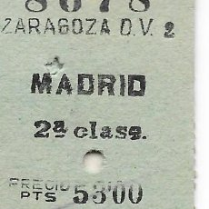Coleccionismo Billetes de transporte: BILLETE FERROCARRIL EDMONDSON DE ZARAGOZA A MADRID 2ª. Lote 295823103