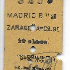 Coleccionismo Billetes de transporte: BILLETE FERROCARRIL EDMONDSON DE MADRID A ZARAGOZA 1ª CLASE. Lote 295823243
