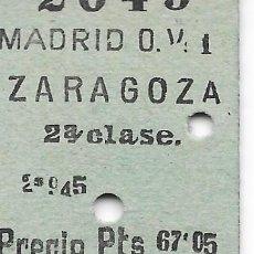 Coleccionismo Billetes de transporte: BILLETE FERROCARRIL EDMONDSON DE MADRID A ZARAGOZA 2ª CLASE. Lote 295823388
