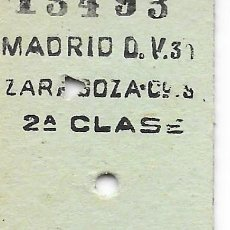 Coleccionismo Billetes de transporte: BILLETE FERROCARRIL EDMONDSON DE MADRID A ZARAGOZA 2ª CLASE. Lote 295823403