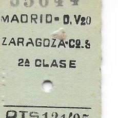Coleccionismo Billetes de transporte: BILLETE FERROCARRIL EDMONDSON DE MADRID A ZARAGOZA 2ª CLASE. Lote 295823633