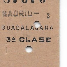 Coleccionismo Billetes de transporte: BILLETE FERROCARRIL EDMONDSON DE MADRID A GUADALAJARA 3ª CLASE. Lote 295823768
