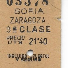 Coleccionismo Billetes de transporte: BILLETE FERROCARRIL EDMONDSON DE SORIA A ZARAGOZA. Lote 295823918