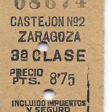 Coleccionismo Billetes de transporte: BILLETE FERROCARRIL EDMONDSON DE CASTEJON A ZARAGOZA. Lote 295823968