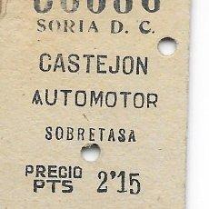 Coleccionismo Billetes de transporte: BILLETE FERROCARRIL EDMONDSON DESORIA A CASTEJON TREN AUTOMOTOR Y BILLETE CON SOBRETASA. Lote 295824138