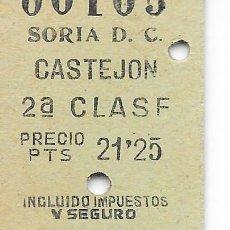 Coleccionismo Billetes de transporte: BILLETE FERROCARRIL EDMONDSON DE SORIA A CASTEJON 2ª CLASE. Lote 295824228