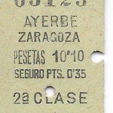 Coleccionismo Billetes de transporte: BILLETE FERROCARRIL EDMONDSON DE AYERBE A ZARAGOZA CIA DEL NORTE 2ª CLASE. Lote 295824318