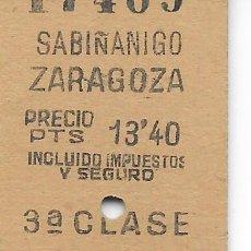 Coleccionismo Billetes de transporte: BILLETE FERROCARRIL EDMONDSON DE SABIÑANIGO A ZARAGOZA. Lote 295824403