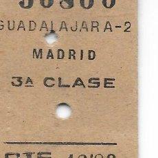 Coleccionismo Billetes de transporte: BILLETE FERROCARRIL EDMONDSON DE GUADALAJARA A MADRID. Lote 295824453