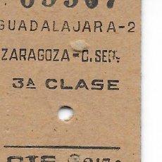 Coleccionismo Billetes de transporte: BILLETE FERROCARRIL EDMONDSON DE GUADALAJARA A ZARAGOZA. Lote 295824528