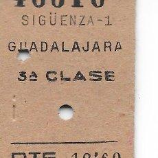 Coleccionismo Billetes de transporte: BILLETE FERROCARRIL EDMONDSON DE SIGUENZA A GUADALAJARA. Lote 295824613