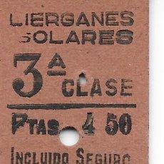 Coleccionismo Billetes de transporte: BILLETE FERROCARRIL EDMONDSON DE LIERGANES A SOLARES. Lote 295824743